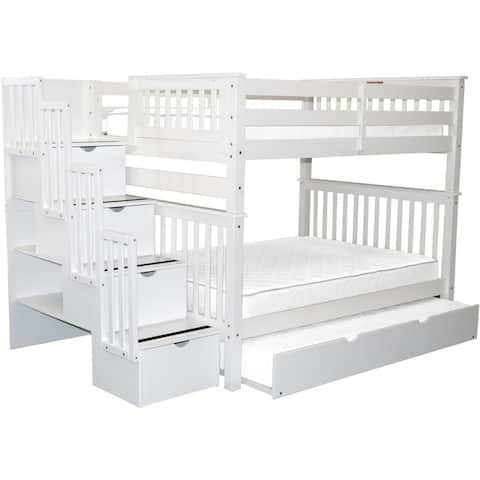 Bedz King White Full-over-Full Stairway Bunk Bed with 4 Drawers