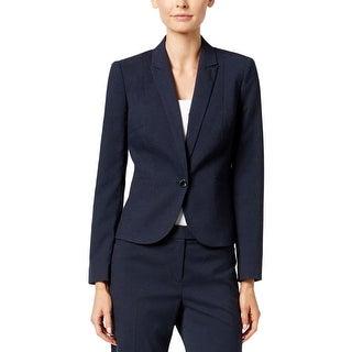 Calvin Klein Womens Petites One-Button Blazer Woven Stretch