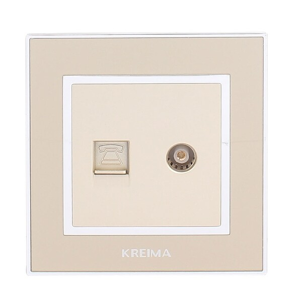 TV Aerial Female Socket RJ12 6P6C Telephone Wall Outlet Connect Plate Gold  Tone