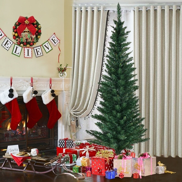 Costway 5Ft PVC Artificial Pencil Christmas Tree Slim w/ Stand Home Holiday Decor Green