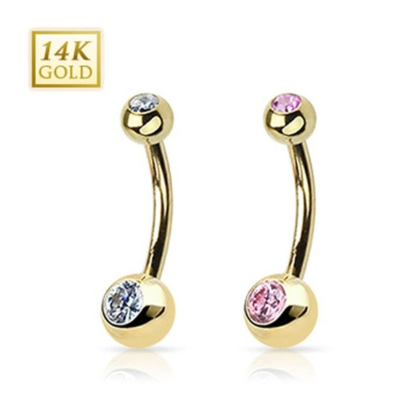 """14 Karat Solid Yellow Gold Navel Belly Button Ring with Gem 6 mm Balls - 14GA 3/8"""" Long - Clear"""