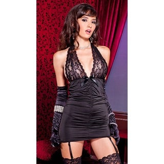 Ruched Garter Chemise, Lace Cup Chemise - Black - One Size Fits most