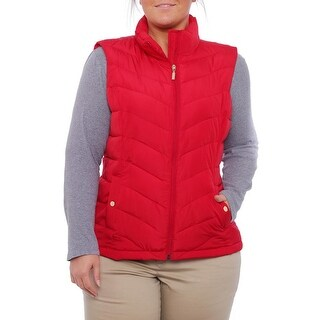 Charter Club Zip-Front Lucy Puffer Vest Vest New Red Amore