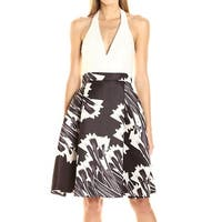 Halston Heritage White Black Womens Size 8 A-Line Printed Dress