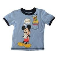 Disney Little Boys Sky Blue Mickey Mouse Pluto Cartoon Print T-Shirt