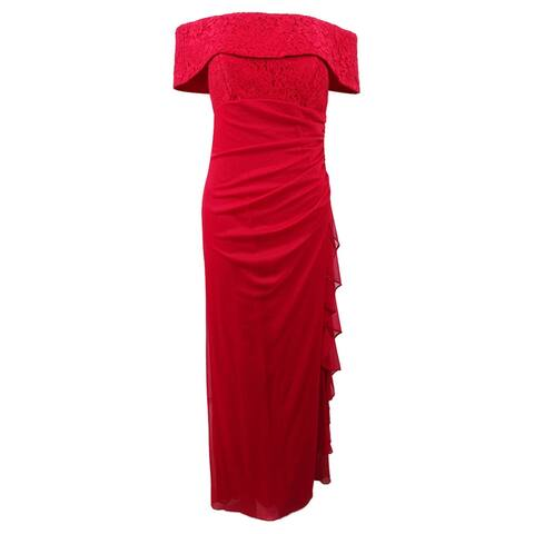 Betsy & Adam Women's Ruched Off-The-Shoulder Gown - Red