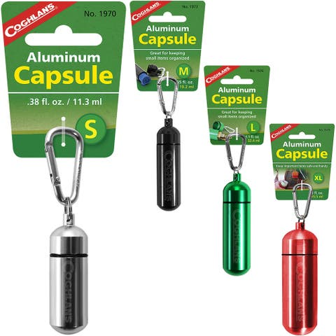 Coghlan's Aluminum Capsule with Carabiner, Watertight Seal, Storage