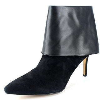 INC International Concepts Women's Talla Pointed Toe Leather Black Ankle Boot