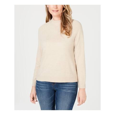 KAREN SCOTT Womens Beige Long Sleeve Crew Neck Sweater Size M