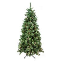 "7.5' x 48"" Pre-Lit Multi-Color Glittered Mixed Pine Medium Artificial Christmas Tree - Clear Lights"