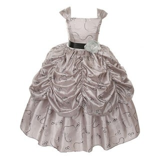 Girls Silver Embroidered Taffeta Flower Sash Pick-Up Pageant Dress 8-12