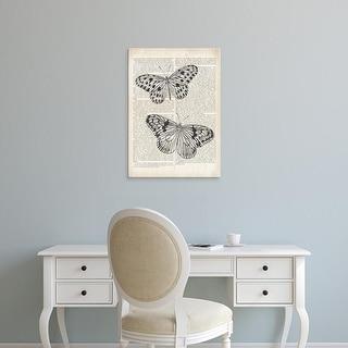 Easy Art Prints Wild Apple's 'Vintage Butterflies on Newsprint' Premium Canvas Art