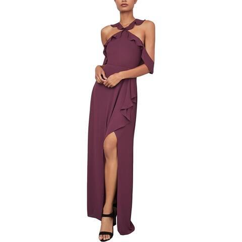 BCBG Max Azria Women's Ruffled Cold Shoulder Halter Column Gown