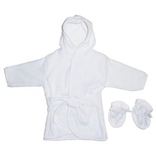 Bambini Baby Unisex White Solid Color Terry Booties Hooded Bath Robe
