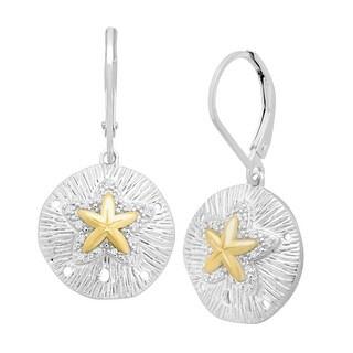 1/10 ct Sand Dollar Drop Earrings in Sterling Silver & 14K Gold