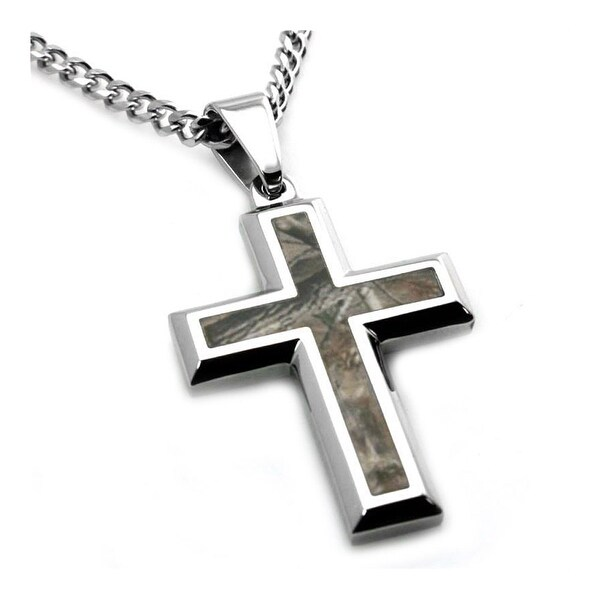 Stainless Steel Forest Tree Camouflage Cross Pendant - 24 inches