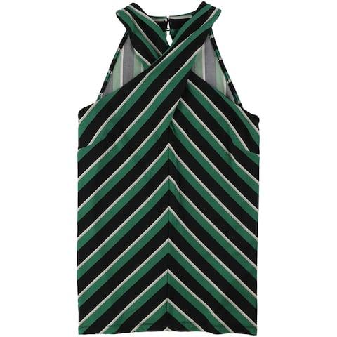 I-N-C Womens Striped Halter Top Shirt