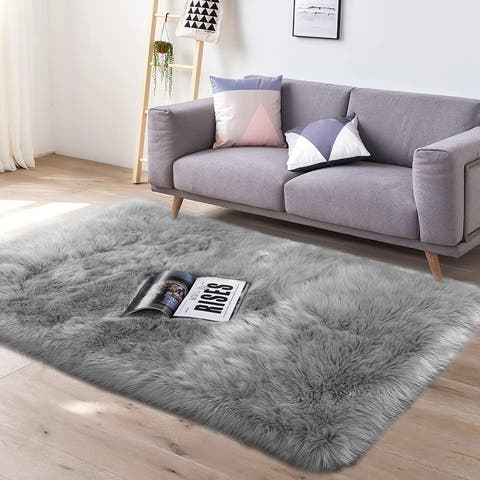 Lochas Super Soft Carpet Shaggy Sheepskin Area Rugs for Bedroom