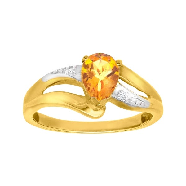 3/4 ct Citrine Ring with Diamond in 10K Gold