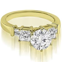 1.30 cttw. 14K Yellow Gold Round Princess Baguette Diamond Engagement Ring