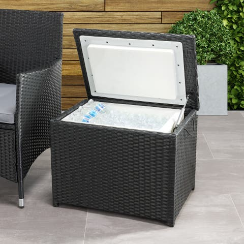 CorLiving Parksville Black Rattan Insulated Cooler Table