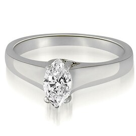 1.00 cttw. 14K White Gold Trellis Solitaire Marquise Diamond Engagement Ring