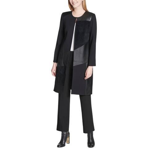 Calvin Klein Womens Plus Long Coat Winter Faux Suede