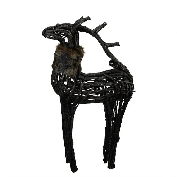 3' Commercial Glittery Dark Brown and Black Wicker Standing Reindeer Christmas Figure