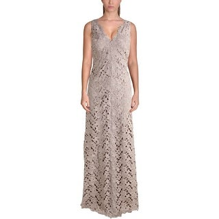 Vera Wang Womens Evening Dress Lace Floral Pattern