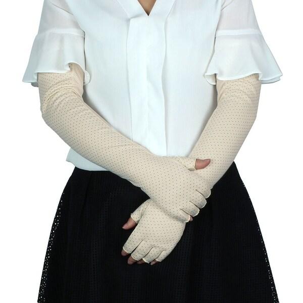 Women Summer Car Driving Arm Sleeves Half Finger Sun Resistant Gloves Beige Pair