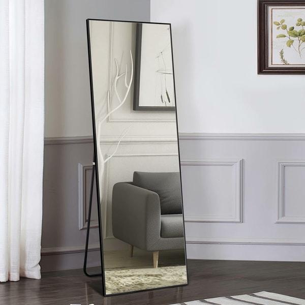 Aluminum Alloy Full-Length Mirror Floor Mirror With Standing - 64x21