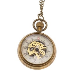 Steampunk Pocket Watch Pendant - Antiqued Brass Mechanical - Round With Chain