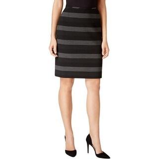 Tahari Womens Petites Pencil Skirt Striped Knit