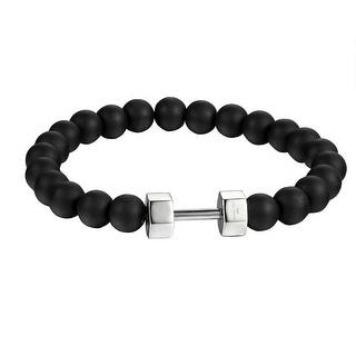 Dumbbell Design Black Beaded Link Bracelet Stainless Steel 8.5 Inch Shamballa
