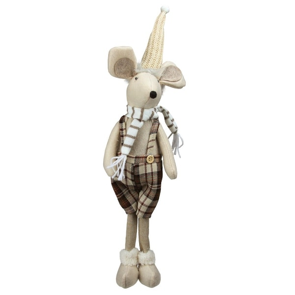 "17"" Standing Boy Mouse in Plaid Dress Christmas Table Top Figure"