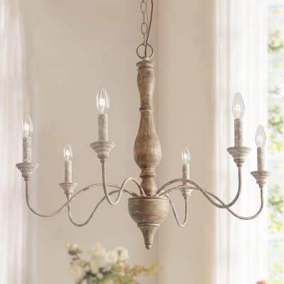 Farmhouse 6-light Distressed Wood Chandelier for Dining Room French Country Fully Handcraft - 29.5 * 29.5 * 24.4