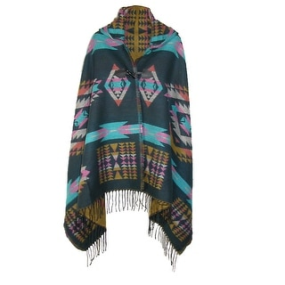 CTM® Women's Aztec Print Hooded Shawl Wrap - One Size