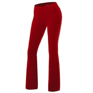 Women's Solid Cotton Spandex Boot Cut High Waisted Flare Yoga Pants Workout C... - Small