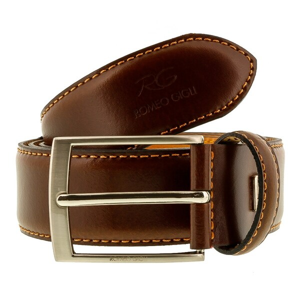 Romeo Gigli C856/35S Brown Leather Adjustable Mens Belt