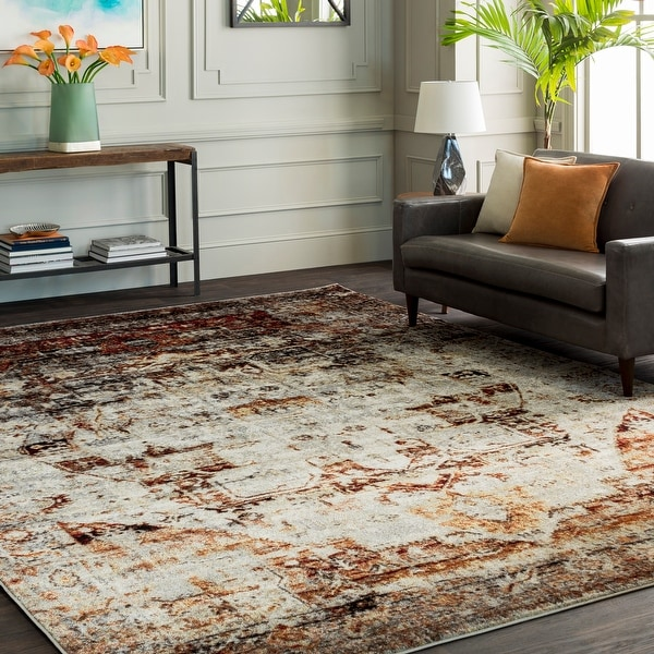Emery Red & Grey Faded Vintage Medallion Area Rug - 2' x 3'. Opens flyout.