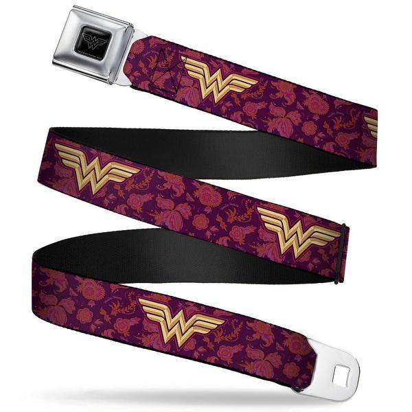 Wonder Woman Black Silver Wonder Woman Logo Floral Collage Purple Pinks Seatbelt Belt
