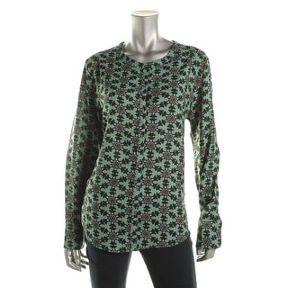 W118 by Walter Baker Womens Button-Down Top Textured Printed - L