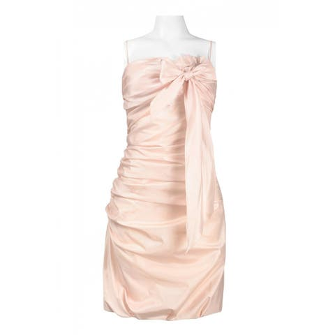JS Collections Spaghetti Strap Bow Embellished Draped Dress, Pink, 10