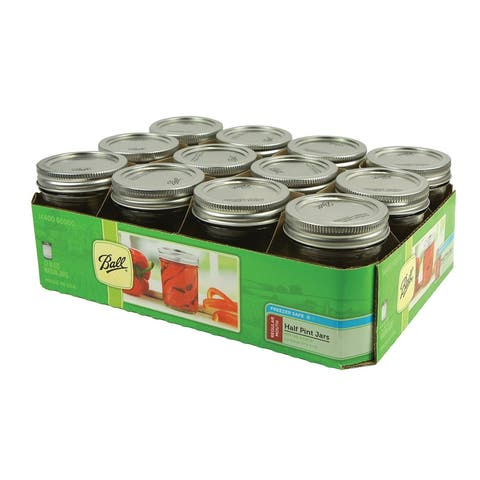 Ball 60000 Regular Mouth Glass Mason Jars w/ Lids & Bands, 1/2-Pint, 12-Count