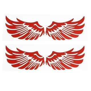 Auto Car Red Wings Shape Self Adhesive Reflective Stickers 2 Pcs