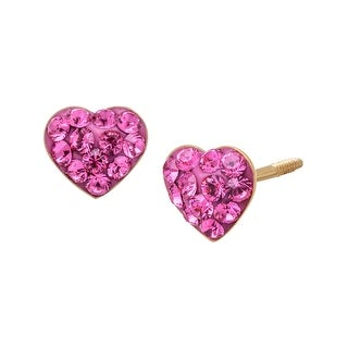 Crystaluxe Heart Stud Earrings with Rose Swarovski Elements Crystals in 14K Gold