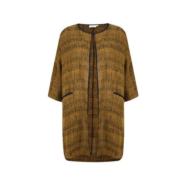 Masai Gold Black Women Size Medium M Short Sleeve Open Front Jacket
