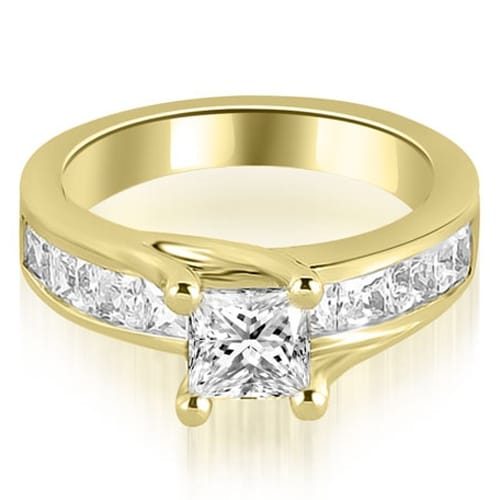 1.55 cttw. 14K Yellow Gold Princess Cut Channel Engagement Diamond Ring