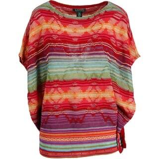 Lauren Ralph Lauren Womens Woven Boatneck Poncho Sweater