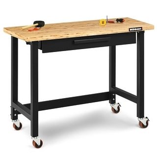 Gymax 48 Inch Mobile Garage Workbench Bamboo Top with Casters and Organizer Drawer - as pic